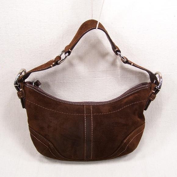 Women's Handbags - Coach Small Brown Suede Hobo/Tote